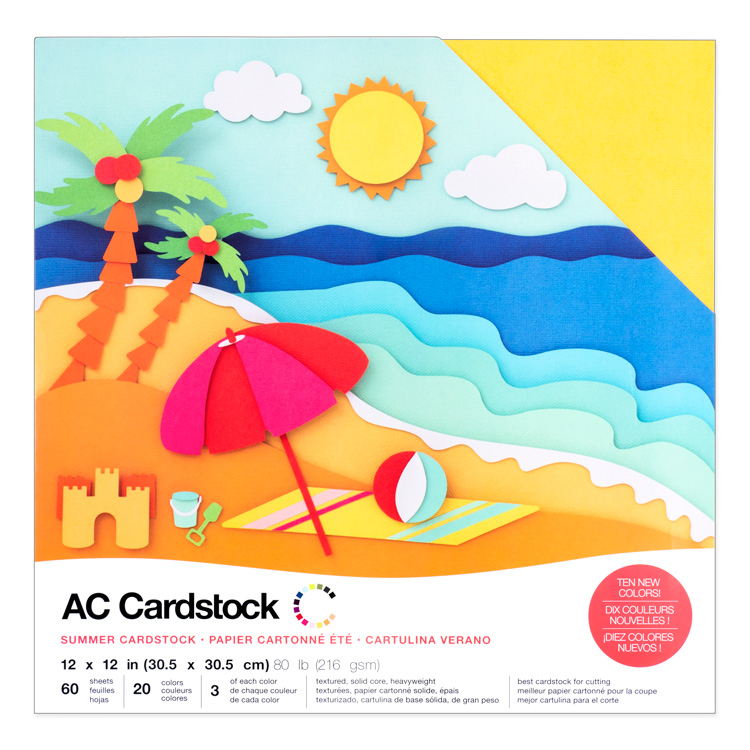 "American Crafts Cardstock Variety Pack 12"" × 12"" Textured Summer 60pc"