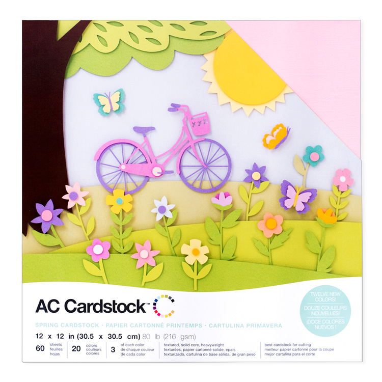 "American Crafts Cardstock Variety Pack 12"" × 12"" Textured Spring 60pc"