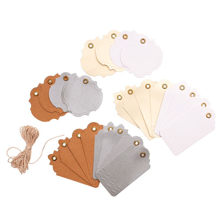 DCWV ms.sparkle & co Neutral Tags with string 24pc