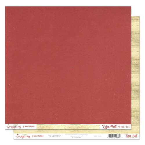 デザインペーパー Echo Park Collection I Love Christmas Paper 12x12 Red/Woodgrain 1枚入