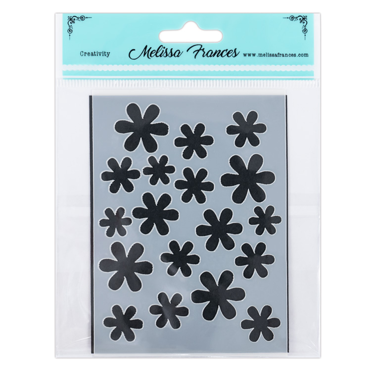 "Melissa Frances Stencil Flower Shower 3"" × 4"""