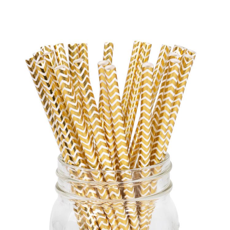 Paper Straws Gold Metallic Chevron 25pcs