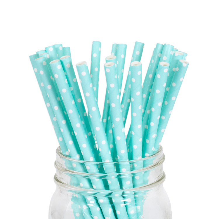 Paper Straws Baby Blue Mini Polka Dot 25pcs