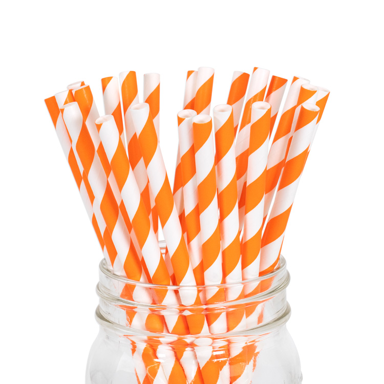Paper Straws Orange Stripe 25pcs