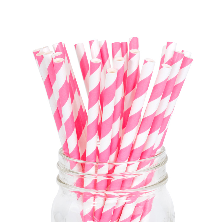 Paper Straws Strawberry Stripe 25pcs
