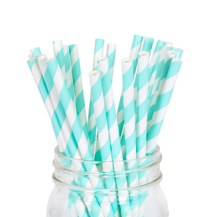 Paper Straws Baby Blue Stripe 25pcs