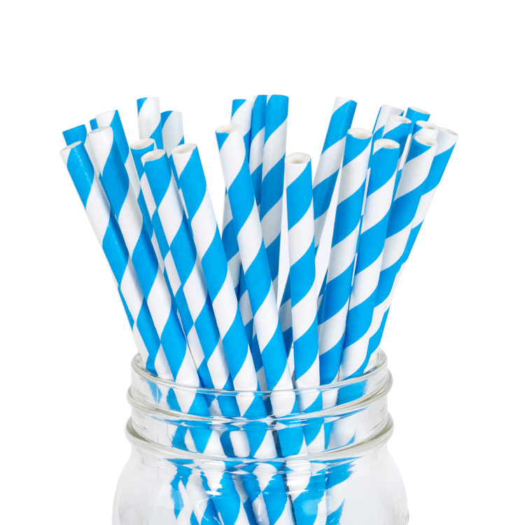 Paper Straws Blue Stripe 25pcs