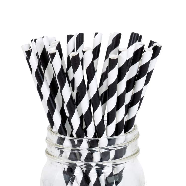 Paper Straws Black Stripe 25pcs