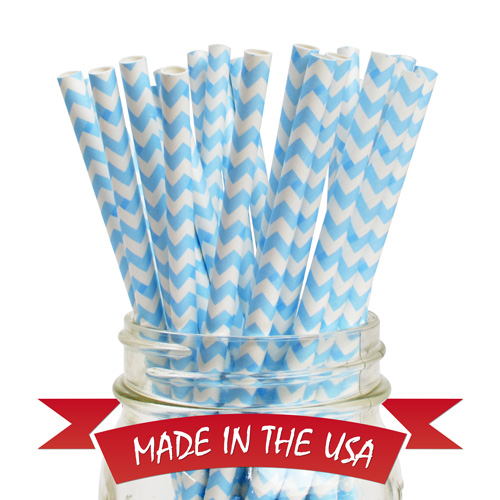 Aardvark Chevron Powder Blue Paper Straw 25 pcs