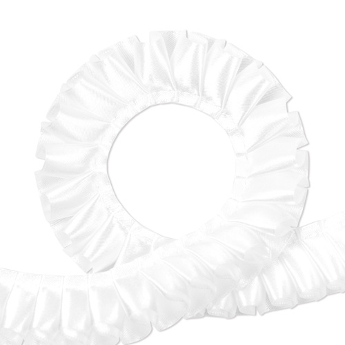 Satin Double Face 25mm [Pleated] Ribbon Snow 1m