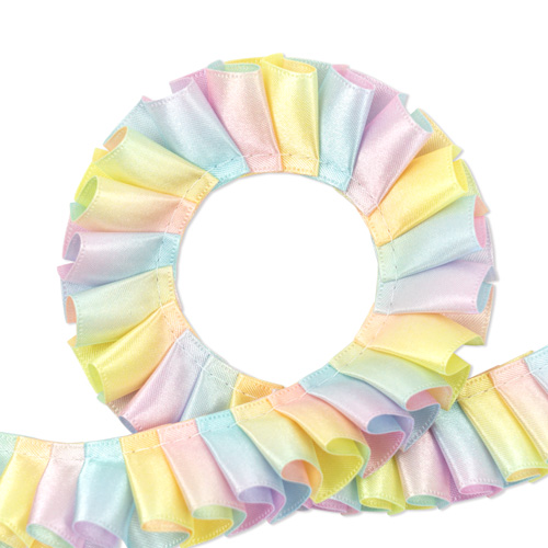 Satin Double Face 25mm [Pleated] Ribbon Rainbow 1m