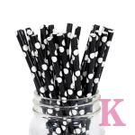 Paper Straws Black Polka Dot 25pcs